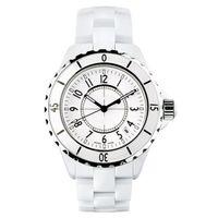 Precio de Cerámica blanca reloj de pulsera-Señora de lujo de la marca blanca / negro Relojes de cerámica Relojes de cuarzo de alta calidad para mujeres Relojes de mujer exquisita