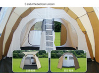 backpacking meals - Two Rooms One Hall Tent Camping Shelters Waterproof Sunny Double deck Protective Summer Outdoors Tents For Family Meal Fast Shipping