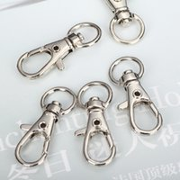 Cheap Alloy Metal Rhodium Large Snap Split Key Ring Swivel Lobster Claw Clasp D Clasp Hooks Clips For Bag Keychain Making Diy Findings