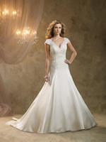 applique lace suppliers - Custom Made Wedding Dress A Line Lace Appliques V Neck Cap Sleeve Satin Skirt Classic Wedding Dress Supplier