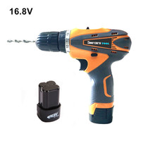 Wholesale V Household Double Speed Cordless Drill Electric Screwdriver Rechargeable Power Tools Two Lithium Battery Plastic Box