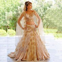 indian dress - 2016 Charming Hot Indian Gold Two Pieces Evening Dresses Lace Appliques Dubai Arabic Prom Dresses Party Gowns Custom Made