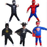 Wholesale Children Halloween Costumes Cosplay Dress Batman Spiderman Superman Zorro Costumes For Kids Boys Girls Zentai Superhero Suits Clothes Suits