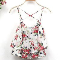 Wholesale 2016 Colors Women Summer Clothing Spaghetti Strap Floral Print Chiffon Shirt Vest Blouses Crop Top for lady
