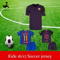 Wholesale DHL messi BARCELONAIZERS kids kits Soccer jersey MESSI NEYMAR JR SUAREZ PIQUE HOME AWAY Custom shirt children Soccer jersey