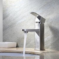 bathroom cube - Pb Free More Healthy Stainless Steel Cube shaped Basin Bathroom Sink Faucet High Quality Years warranty Hot and Cold Water Basin mixer