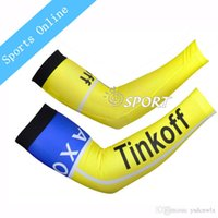 Wholesale NEW tinkoff saxo bank Bike Cycling Arm warmers cuff compression arm sleeve Sun UV Protection Sleeves Ciclismo cyclisme