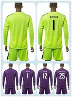 Wholesale Fast Uniforms Kit Italy European cup BUFFON SIRIGU MARCHETTI Soccer Jersey Long Sleeve Yellow Purple Green Goalkeeper Shirt