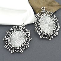 Wholesale Vintage tibetan silver oval charm cabochon mm metal pendants fit diy necklace jewelry sentting