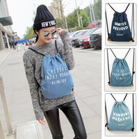Wholesale New Fashion School Bags for Girls And Boys Travel Denim drawstring Backpack Students Backpacks for Women Rucksack Style
