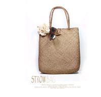 bamboo beach mat - Pure handmade Sen female beach mat knitting handbag straw bag braided rattan bamboo bag Clutch Handbag Shoulder
