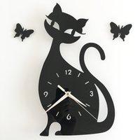 Wholesale Funlife DIY Clock Black Wall Clock Creative Lovely Bedroom Living Room colors