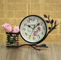 antique decoration ideas - 2016 New Idea White Black Desk Clocks Beautiful Pastoral Table Craft Clock Household Decorations Cheap Clocks sale Online