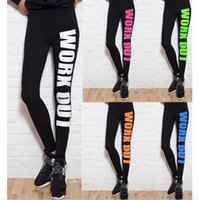 Wholesale Sports Leggings Women Pencil Fitness Workout Letters Print Yoga Pants Lady Gym Clothes Sportwear Leggins