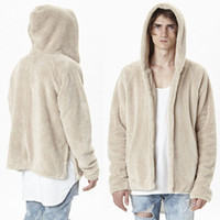 mens designer clothes - Fall New Fashion Oversized Mens Sherpa Hoodie Jackets Famous Brand Designer Clothes Cashmere Coat Fur Collar Open Stich Swag