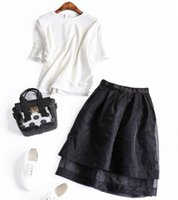 awning skirt - Europe and the United States Autumn New Hollow round neck short sleeve sweater skirt suit Peng awning