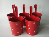 balcony flower boxes - Red Hanging Garden bucket tin box Iron pots Balcony Flower Pot metal Planter Dot design