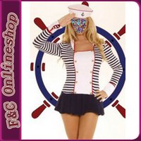 adult cheap costumes - Sexy black and white stripe sailor fancy dress cheap sailor costume for adult