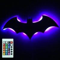 Wholesale Piece Batman Logo Mirror Plus Batman Eclipse Light Remote Controlled LED Wall Light