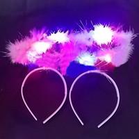 Wholesale Novelty LED Flash Ladies Girl Fluffy Halo Angel Light up Headband Headwear Head Band Fairy Fancy Dress Cosplay Party Decoration