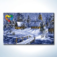 Wholesale Snow Night DIY Painting Baby Toys x80cm Educational Canvas Oil Painting Kids Drawing Toys Set for Children