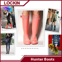 Wholesale Plus Size hunter boots good quality high knee rainboots Ms Glossy rain boots hunter boots Lockin women Hot Sale