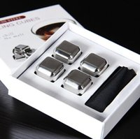 Wholesale set stainless steel fast cooling Ice Cube Rock Whiskey ice block