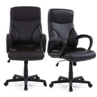 Wholesale IKAYAA Faux Leather Adjustable Swivel Office Executive Chair Stool High Back Ergonomic Computer Task Office Furniture US STOCK H16677