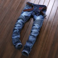 american clothing sizes - Hot Sale Designer Biker Jeans For Men Elastic Ripped Blue Jeans High Quality Winter Warm Skinny Jeans Denim Brand Mens Clothing Plus Size