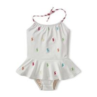 Wholesale 5pcs Y girl swimsuit Spa white one piece swimsuit embroidery pattern horse Baby Beachwear girl swimming suit swimming