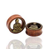 Wholesale Pair Wood Brass Buddha Design Flesh Tunnels Expander Ear Gauges Earring Plugs