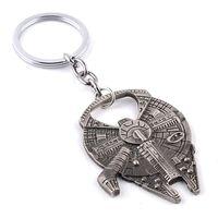 Wholesale Star Wars Millennium Falcon Key chain Spacecraft Star Trek Spaceship alloy metal keychain pendant Key Chains vintage silver key rings men