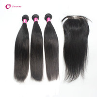 Wholesale 7A Brazilian Straight Virgin Hair Bundles With Lace Frontal Closure Unprocessed Peruvian Indian Natural Black Human Hair Extensions weave