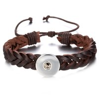 Wholesale Noosa Chunks Snap Button Charm Leather Weave Bracelet Bangles For Women mm Rivca Ginger Snaps Button Jewelry SZ0340