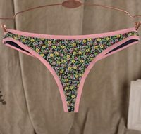 Wholesale girls lovely small flower thongs low waist pure cotton T panty colors S M L