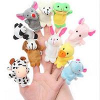 Wholesale 10 Set Tiny Cute Animal Farm Finger Puppets Learn Play Boys Girls Baby Velvet Toy