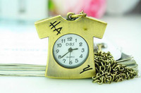 antique t shirts - Antique style lovely cartoon crystal T shirt Pocket watch necklace New