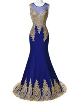 good evening - Vintage Gold Applique Mermaid Prom Dresses Good Design Floor Length Sheer Neck Evening Party Gowns Hot Sale