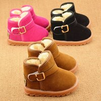 Wholesale Warm Winter Plush Children Kids Thicken Boot Shoes Boys Girls Baby Sneakers Buckle Snow Boots Kid s Shoes Criancas Sapatos S4026