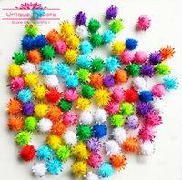balls tinsel - 200pcs Mixed Colors Glitter Tinsel Pompom Ball Ornaments mm Pompom Balls Xmas Wreath Party Decoration Baby Dolls DIY Toys