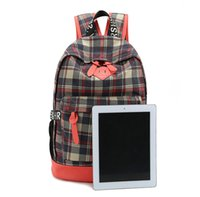 Wholesale Popular plaid leisure sports backpack thick canvas with PU men and women backpack travel small back pack