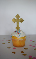 baptism cake decorations - gold glitter Christening Baptism Cross Cupcake Toppers baby shower birthday wedding cake topper decoration