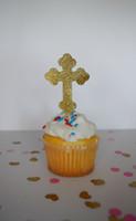 baptism cake topper - gold glitter Christening Baptism Cross Cupcake Toppers baby shower birthday wedding cake topper decoration