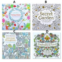 Wholesale Adult Coloring Books Designs Secret Garden Animal Kingdom Fantasy Dream and Enchanted Forest Pages Kids Adult Painting Colouring Books