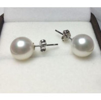 Wholesale CHARMING PERFECT ROUND MM AAA WHITE AKOYA NATURAL PEARLS EARRING K