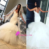Wholesale Sexy Spaghetti Straps Mermaid Lace Wedding Dresses with Sweetheart Backless Tiers Skirt Long Train Garden Beach Trumpet Bridal Gowns