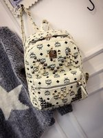 Wholesale NEW Arrival Fashion School Bags Hot Punk style Backpack Rivet Crown Student Backpack Leather Lady Bags