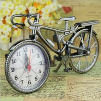 bicycle battery operated - New Brown Analog Travel Desk Alarm Clock DIY Bicycle Bike Model Battery Operated Cool clock fashion and personality Alarm Clock