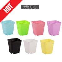 Wholesale 2016 Cheap Caliber cm Height cm Thick Multi meat Pots Nursery Square Basin Colorful Plastic Flower Pot Black Square Small HY1624