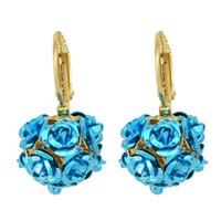 Wholesale New Fashion Metal Flower Hanging Clips Earrings